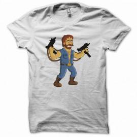 Tee shirt Parodie Homer simpson Chuck norris blanc