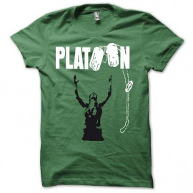 Tee shirt Platoon noir/vert bouteille mixtes tous ages