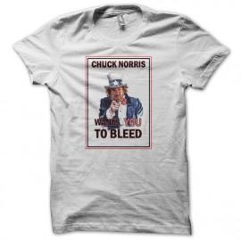 Tee shirt Chuck Norris wants you blanc