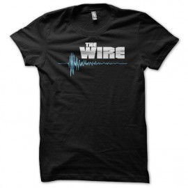 Tee shirt The Wire logo blanc/bleu sur noir