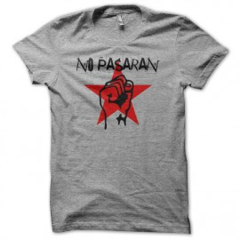 Tee shirt No Pasaran gris mixtes tous ages