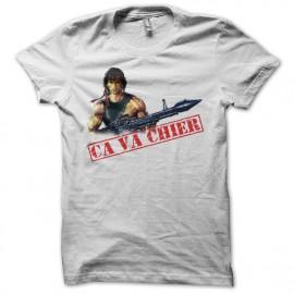 Tee shirt Rambo ça va chier color blanc