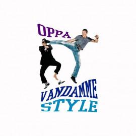 Tee shirt OPPA Van Damme Style parodie gangnam blanc