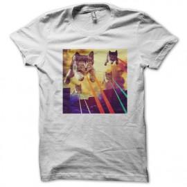 Tee shirt space cats, chats de l'espace blanc mixtes tous ages