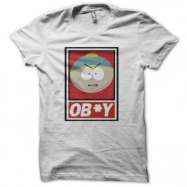 Tee shirt South Park parodie Cartman ob*y blanc mixtes tous ages