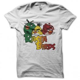 Tee shirt Angry Birds parodie Rasta Birds blanc mixtes tous ages