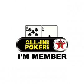 Tee shirt All-in Poker Orange I'm Member blanc