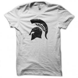 Tee shirt Spartacus casque spartiate vintage artwork blanc