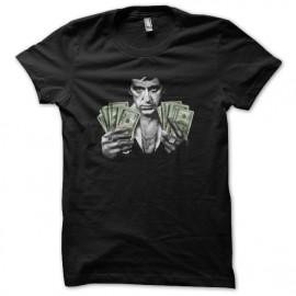 Tee shirt Scarface Tony Montana billets dollars noir