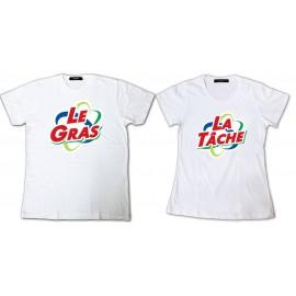 Tee Shirt pour couple Les Nuls Le gras La tâche parodie Ariel - Pack homme et femme Blanc