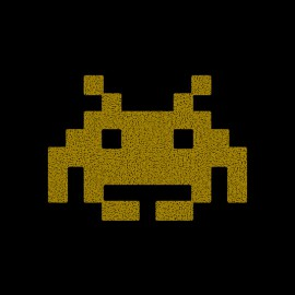 Tee Shirt Space invader Gold on Black