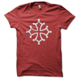 Tee Shirt Occitan Cross White on Red