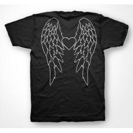 Tee Shirt Angel Wings Black