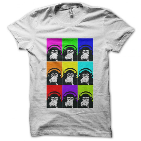 tee shirt monkey with headphones blanc