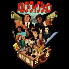 tee shirt pulp fiction version manga noir