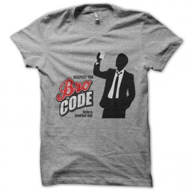 Tee shirt barney stinson respect the bro code gris