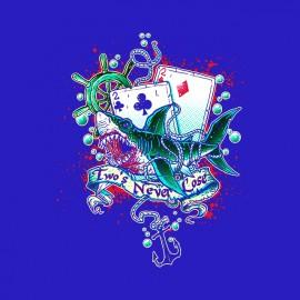 tee shirt Shark Card blue