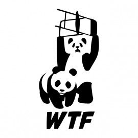 tee shirt wwe and wwf Panda wtf blanc