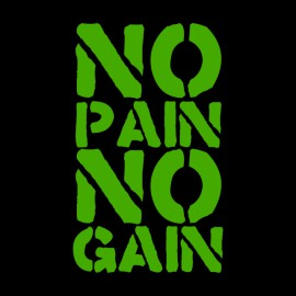Tee Shirt  No Pain No Gain Green on Black
