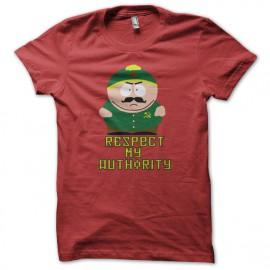 tee shirt eric cartman respect my authority version communiste rouge