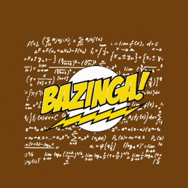 tee shirt bazinga avec calcules physique chimie marron