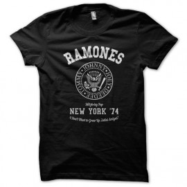 Tee Shirt University Ramones rock punk Noir