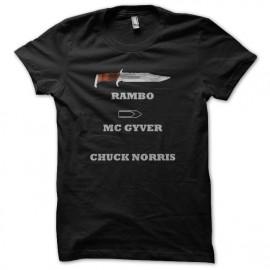tee shirt chuck norris vs rambo noir