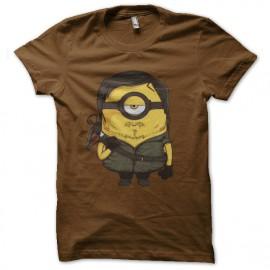 tee shirt daryl dixon parodie minion marron