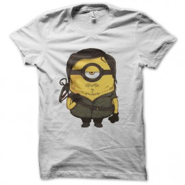 tee shirt daryl dixon parodie minion blanc