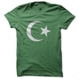 Tee Shirt Islam White on Green