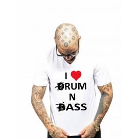 tee shirt love drum n bass blanc