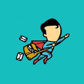 tee shirt job special superman bleu ciel