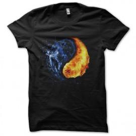 tee shirt Yin Yang Water and fire design noir