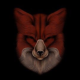 tee shirt fox design art noir