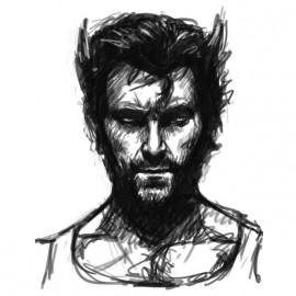 tee shirt Wolverine sketch blanc