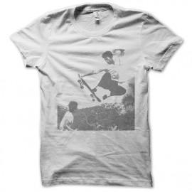 tee shirt bruce lee skateboard blanc