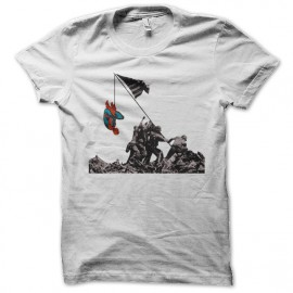 tee shirt spider man funny blanc