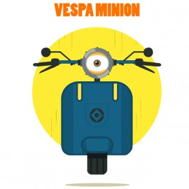 tee shirt vespa minnion blanc