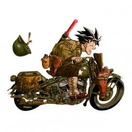 tee shirt biker goku blanc