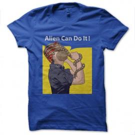 tee shirt alien can do it bleu