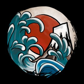 Tee SHirt Hokusai Comic Noir