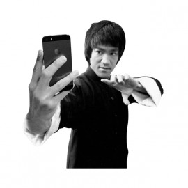 tee shirt Bruce Lee Selfie blanc