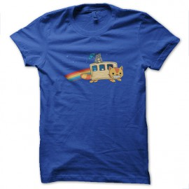 tee shirt totoro nyan cat bleu