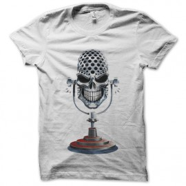 tee shirt microphon skull blanc
