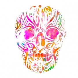 tee shirt skull art blanc