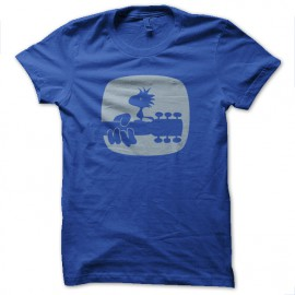 tee shirt woodstock snoopy bleu royal