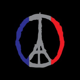tee shirt paris pray peace noir