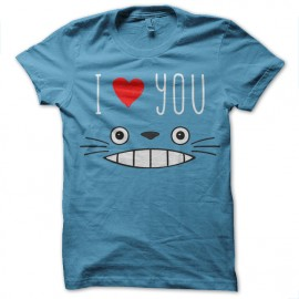 tee shirt Totoro Loves You turquoise mixtes tous ages