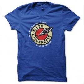 tee shirt x-files express bleu royal