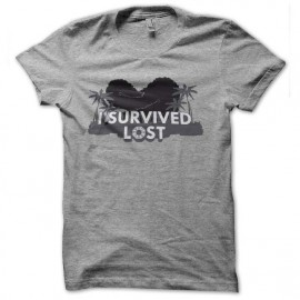 tee shirt i survived lost gris